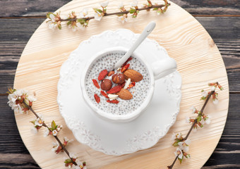 Chia seed pudding with nuts and goji berries