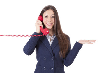 girl talking on the phone isolated cordon