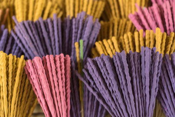 Closeup aromatic incense sticks drying on the sun