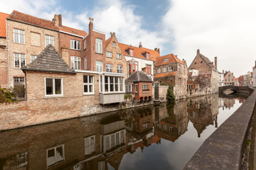 houses along the canals of Brugge, Belgium