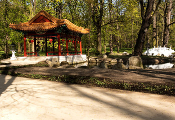 Warsaw.Chinese garden in Lazienki Royal Park