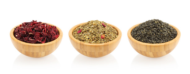 Assortment of tea in a wooden bowl