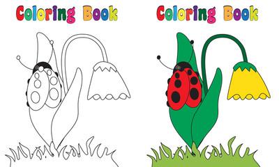Coloring Book Flower Ladybug