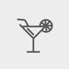 Margarita drink with lemon thin line icon