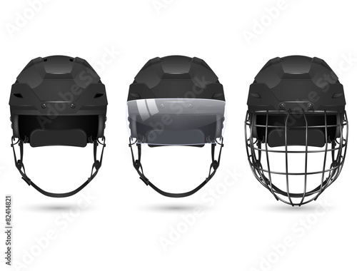 Black hockey helmet in three varieties - 82414821