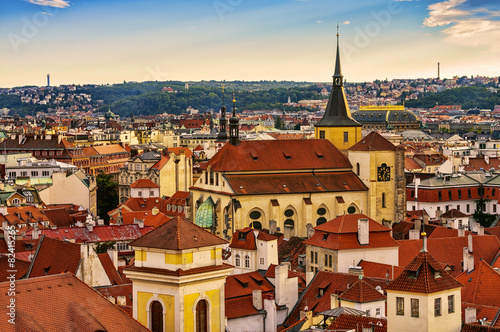 Staande foto Praag Houses with traditional red roofs in Prague Old Town Square in t