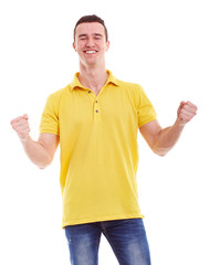 Happy man in a yellow polo shirt