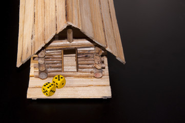 Yellow dices to the new house