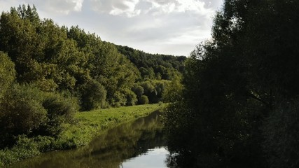 Time lapse of river flow through the trees on banks