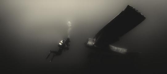 Scuba diver meets aeroplane