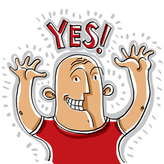 Yes. Illustration of happy smiling person rising his hands up. C