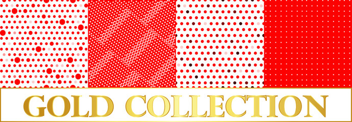 Set polka dots pattern on red and white background