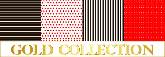 Set pattern polka dots on red and white background and stripes.
