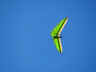 Hang gliding in blue sky