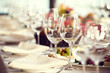 Close up picture of empty glasses in restaurant. Selective focus - 82419657
