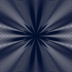 Decorative lined hypnotic contrast background. Optical illusion,