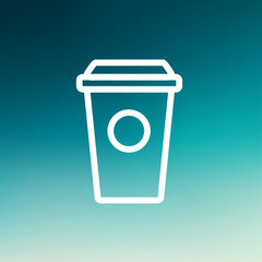 Disposable coffee cup thin line icon