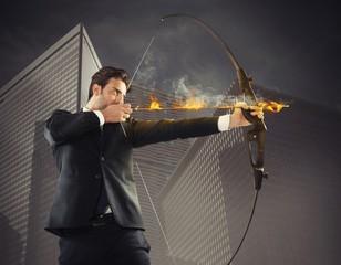 Businessman takes aim