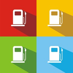 Iconos gasolinera sombra