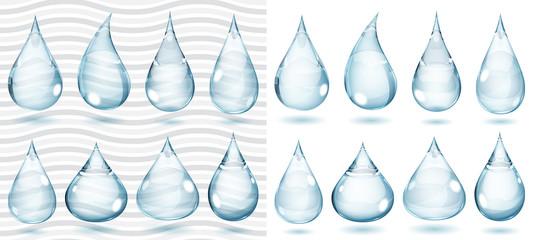 Transparent and opaque pale blue drops