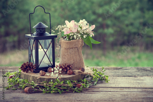 Wedding still life in rustic style. Retro stylized photo.