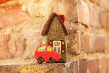 little house and toy car