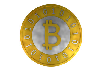 Computer generated photo of a Bitcoin electronic currency