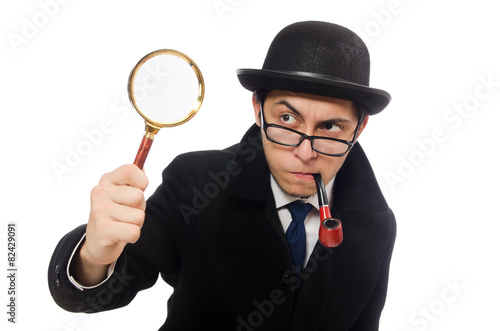 Sherlock Holmes with magnifying glass isolated on white - 82429091