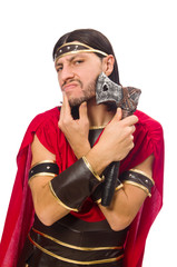 Gladiator shaves his face isolated on white