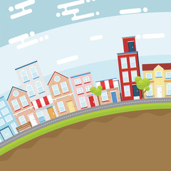 Summer city in slope land with bright and flat design concept