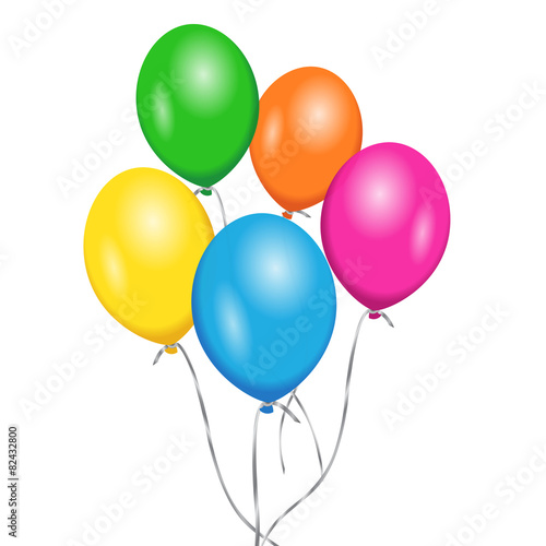 Vector Birthday Colorful Balloons Party