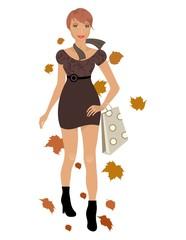 elegant autumn girl isolated