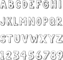 Hand drawn trendy letters alphabet typography on white