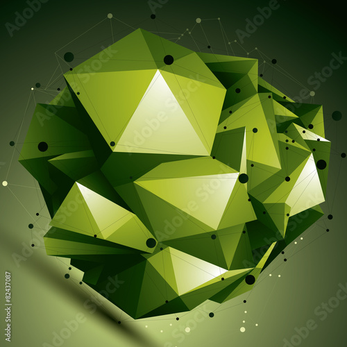 poster of Abstract asymmetric vector bright object with lines mesh, compli