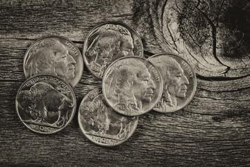 Vintage Indian Head Nickels on Wood
