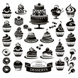 Set of desserts design elements
