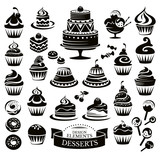 Fototapety Set of desserts design elements