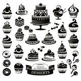 Set of desserts design elements