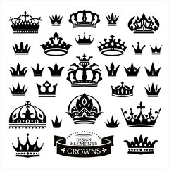 Set of various crowns isolated on white