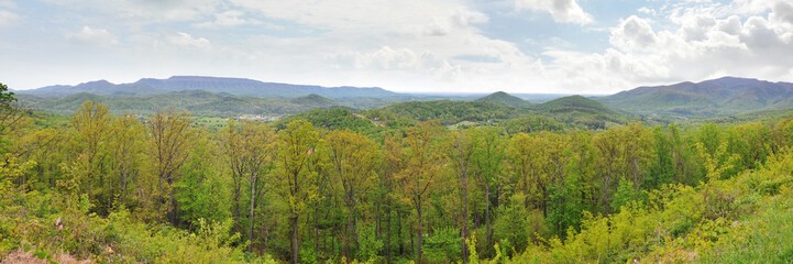 Wide spring panorama of the Appalachian Mountains in April