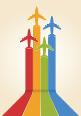 Airplane fly with rainbow trail as presentation of business laun