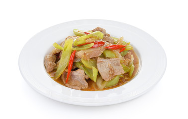 Spicy fried pork with chilli on white plate