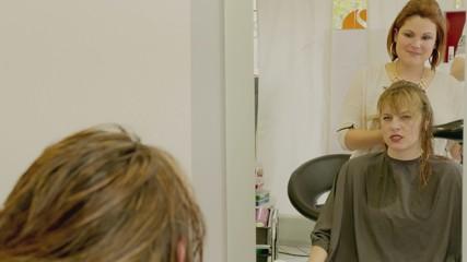 Hairdresser Woman Blow Dry Hair