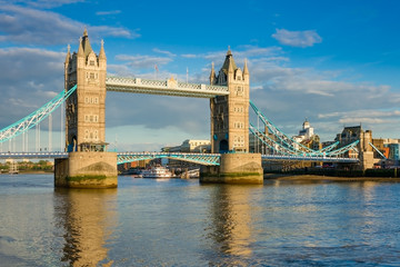 Tower Bridge in London on a beautiful sunny evening