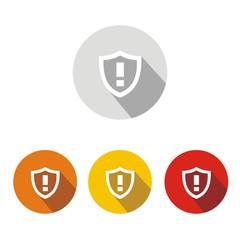 Iconos escudo alarma botón colores sombra