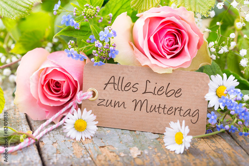 Foto op Canvas Madeliefjes Alles Liebe zum Muttertag