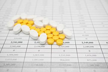 Pile of white and yellow pills for painkiller