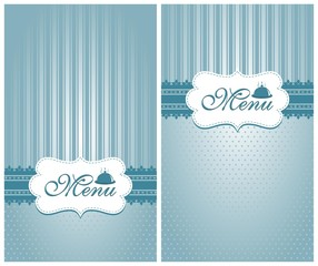 Menu for foods and drinks - blue and white design