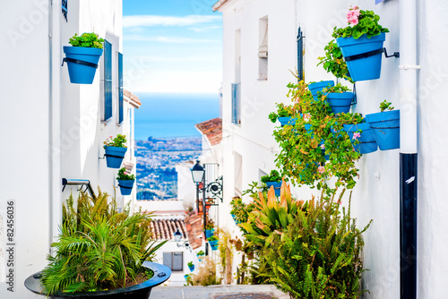 Foto Spatwand Mediterraans Europa Picturesque street of Mijas. Andalusia. Spain