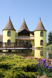 yellow castle with pond Eastern Europe Serbia poster